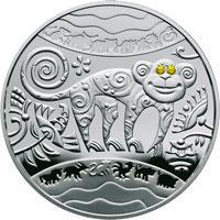Срібна монета Рік Мавпи 5 грн. 2015 року