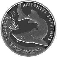 Срібна монета Стерлядь прісноводна 10 грн. 2012 року