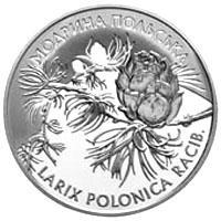Срібна монета Модрина польська 10 грн. 2001 року